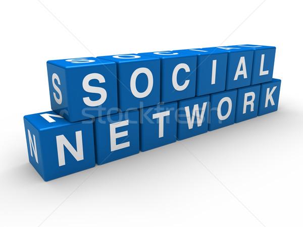 Stockfoto: 3D · netwerk · sociale · kubus · Blauw · globale