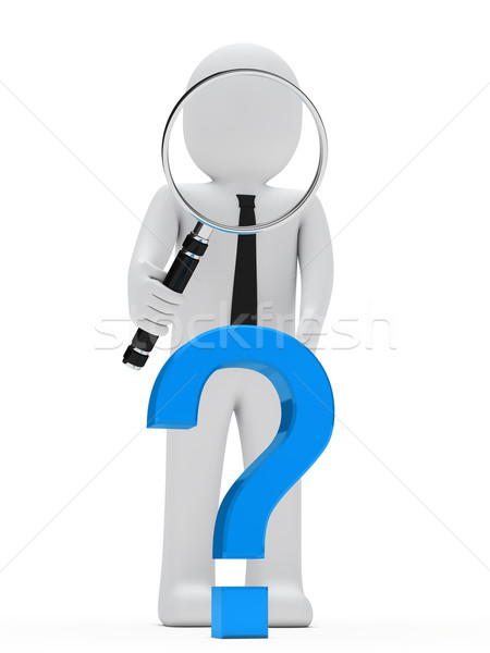 businessman magnifying glass question mark Stock photo © dariusl