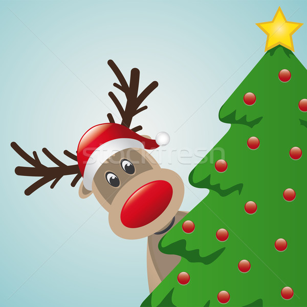 reindeer behind christmas tree Stock photo © dariusl