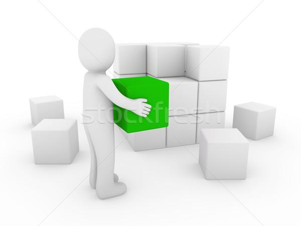 Foto d'archivio: Cubo · finestra · verde · bianco · successo