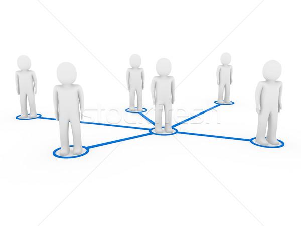 3D hombres red social azul personas Foto stock © dariusl
