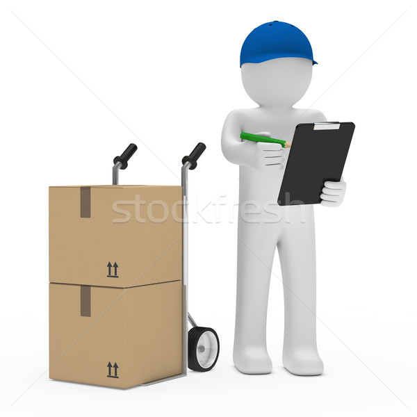 man with hand truck and checklist Stock photo © dariusl