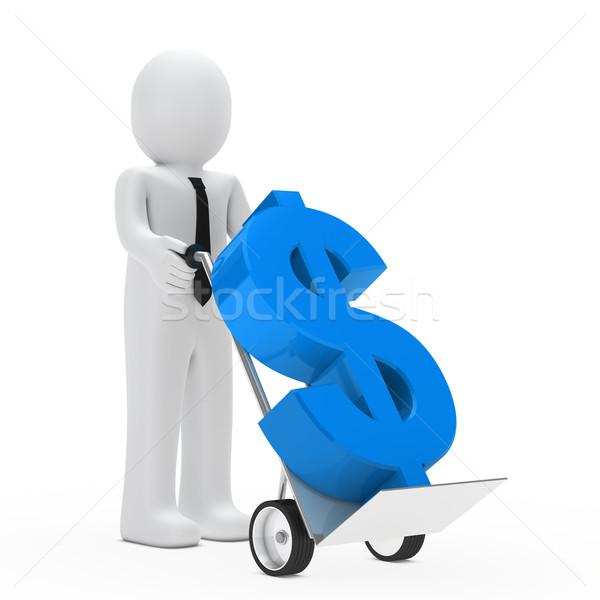 Zakenman dollar hand vrachtwagen houden Blauw Stockfoto © dariusl
