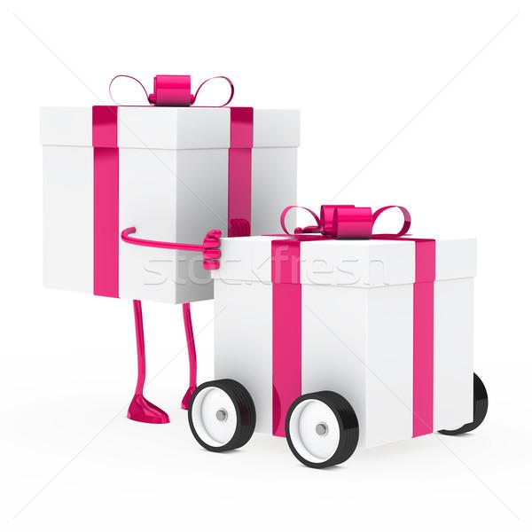 Foto d'archivio: Figura · scatola · regalo · Natale · rosa · veicolo