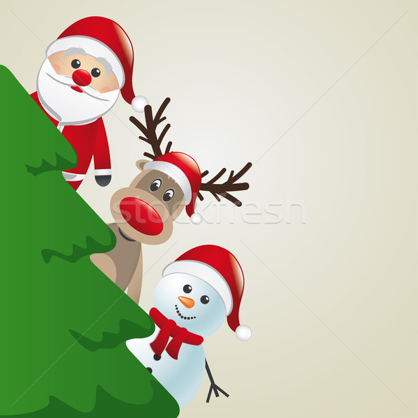 santa reindeer snowman behind christmas tree Stock photo © dariusl