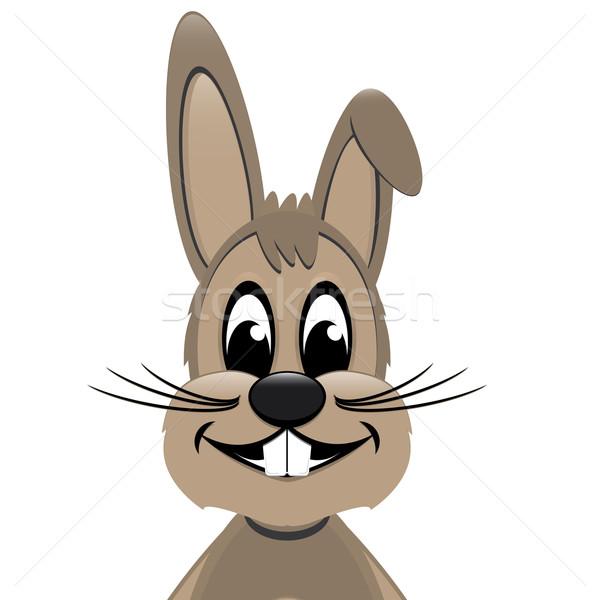 Stockfoto: Easter · Bunny · kijken · kant · geïsoleerd · witte · Pasen