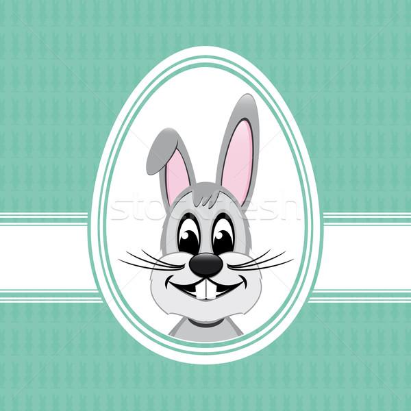 счастливым Пасху bunny белый яйцо зеленый Сток-фото © dariusl