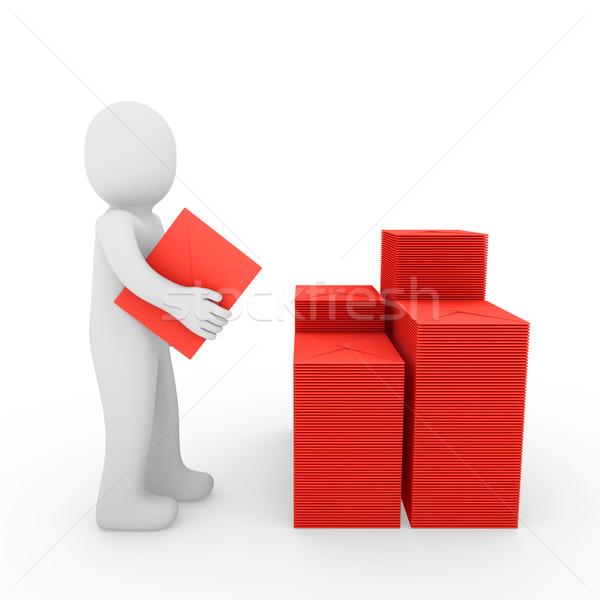 3d human letter mailbox red Stock photo © dariusl