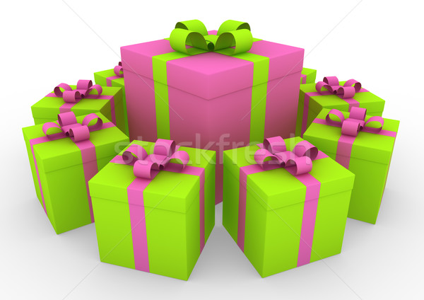 3d green pink white gift box circle Stock photo © dariusl