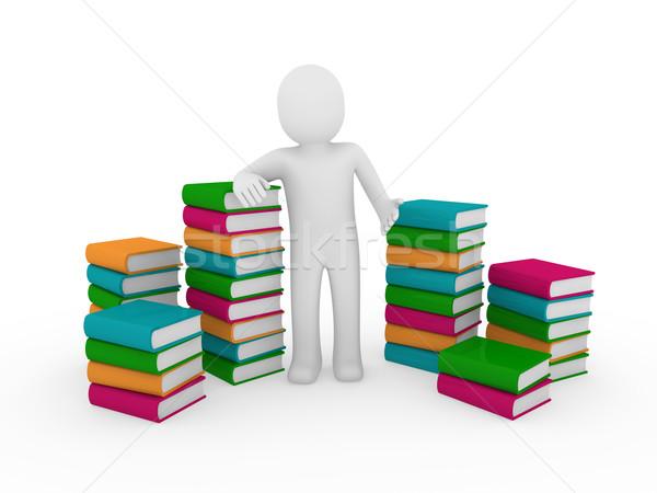 Stock photo: 3d human books