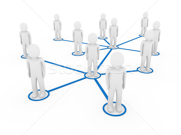 3d men network social blue Stock photo © dariusl