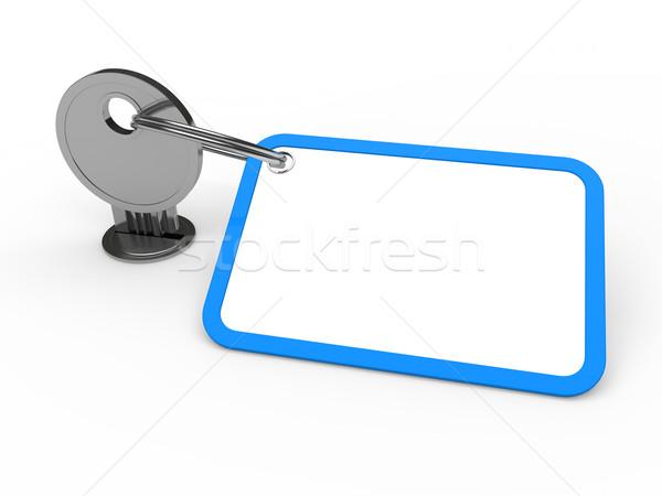 3D anahtar bağlı mavi krom etiket Stok fotoğraf © dariusl