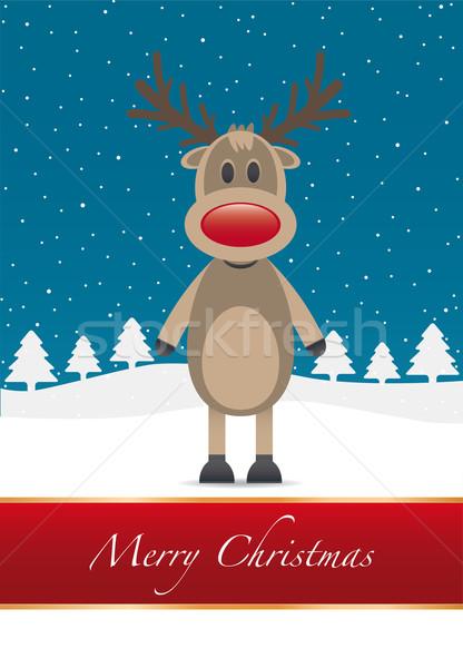 ストックフォト: 赤 · 鼻 · 陽気な · クリスマス · トナカイ · タイプ