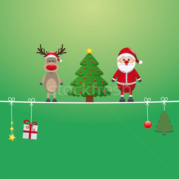 santa reindeer tree twine green background Stock photo © dariusl