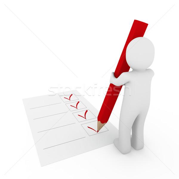 Comprobar rojo pluma cuadro papel Foto stock © dariusl