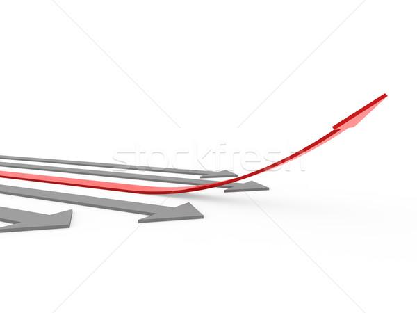 Stok fotoğraf: 3D · kırmızı · gri · ok · yüksek · yalıtılmış