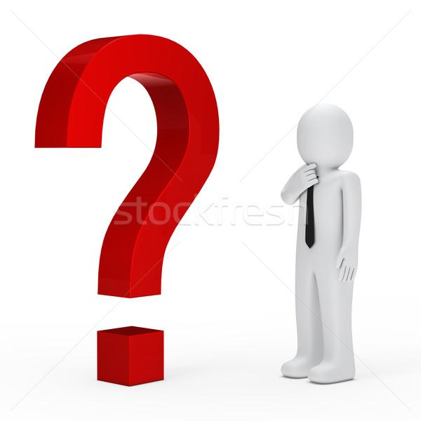 Işadamı kırmızı soru işareti 3D iş adamı iş Stok fotoğraf © dariusl