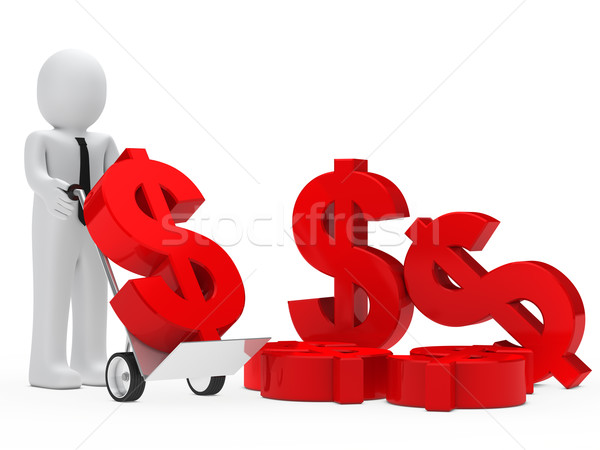 üzletember dollár kéz teherautó tart piros Stock fotó © dariusl