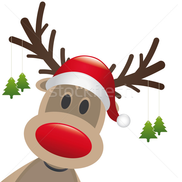 reindeer red nose hang christmas tree Stock photo © dariusl
