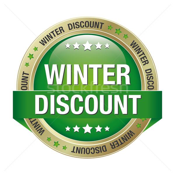 winter discount green gold button Stock photo © dariusl