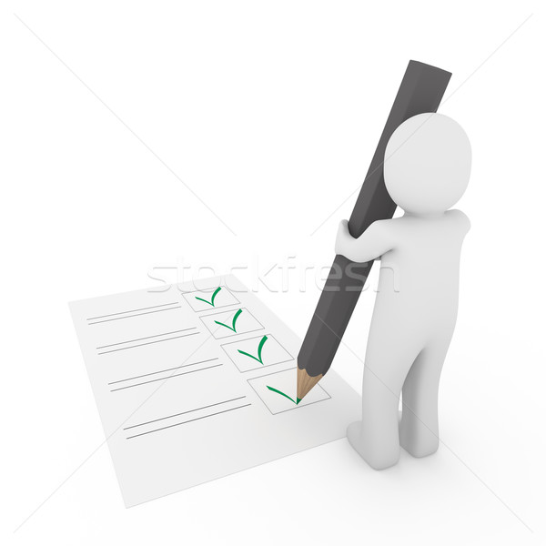 3d human check gray pen Stock photo © dariusl