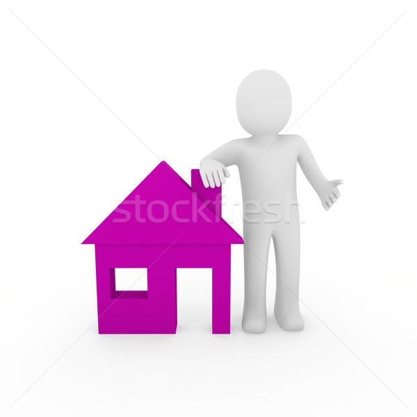 3d man house purple Stock photo © dariusl