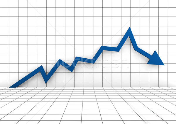 3d graph arrow blue down Stock photo © dariusl