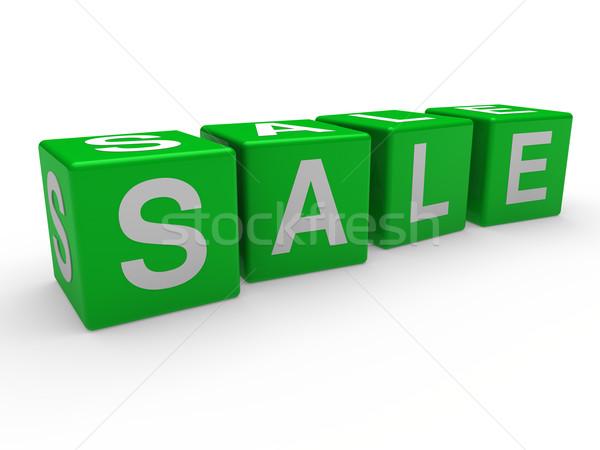 Foto d'archivio: 3D · verde · vendita · cubo · sconto · retail