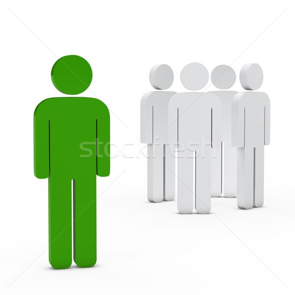 équipe commerciale leader vert 3D blanche succès Photo stock © dariusl