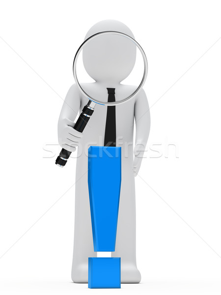 businessman magnifying glass exclamation mark Stock photo © dariusl