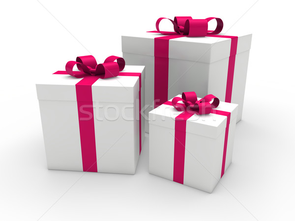 3d gift box pink white  Stock photo © dariusl