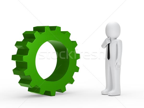 Business man green mechanical gear Stock photo © dariusl