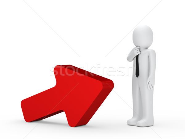 Foto d'archivio: Uomo · d'affari · rosso · arrow · stand · successivo · sfondo