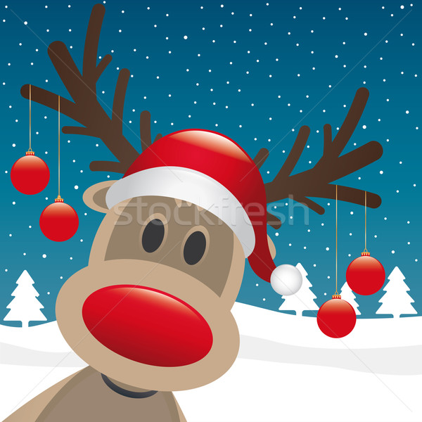 reindeer red nose hang christmas balls Stock photo © dariusl