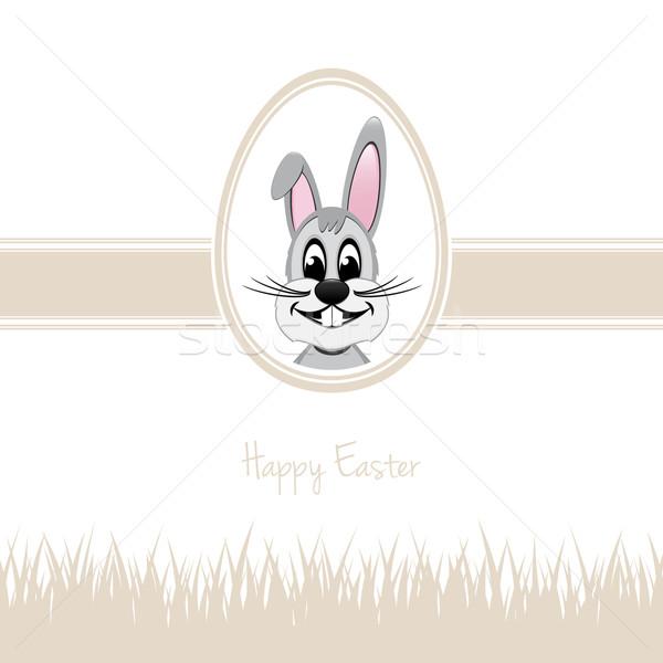 happy easter bunny egg grass beige Stock photo © dariusl