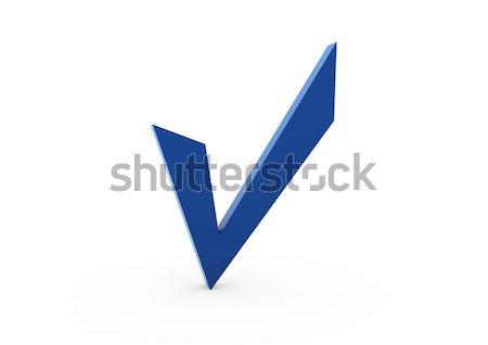Foto stock: 3D · verificar · azul · isolado · branco · papel