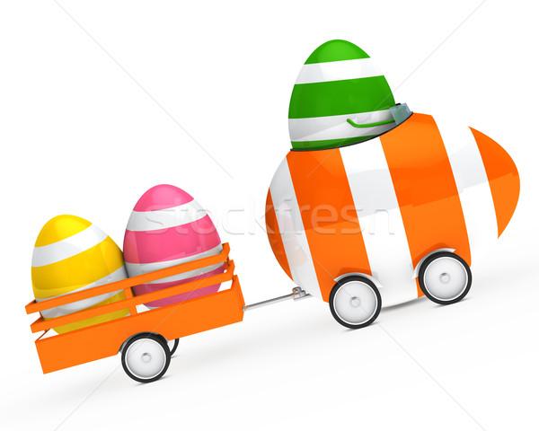 Stok fotoğraf: Easter · egg · anlamaya · araba · Paskalya · dağ · turuncu