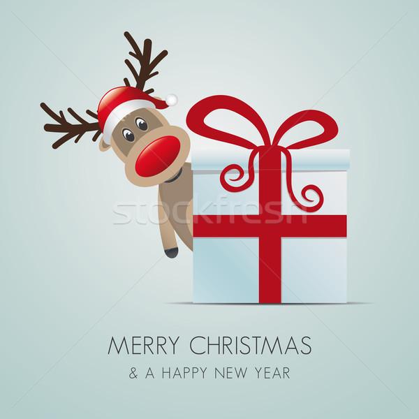 ストックフォト: トナカイ · クリスマス · ギフトボックス · ボックス · 青