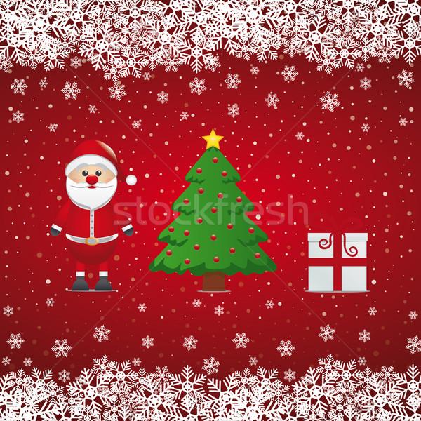 santa claus gift christmas tree snowy Stock photo © dariusl