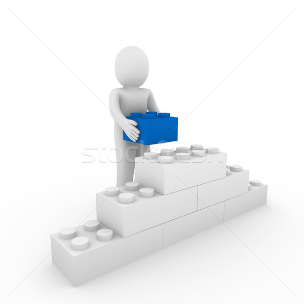 3d human blue cube stone Stock photo © dariusl