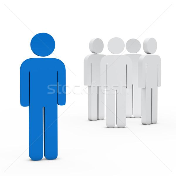 équipe commerciale leader bleu 3D blanche succès Photo stock © dariusl