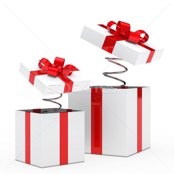 ギフトボックス クリスマス 赤 白 リボン 金属 ストックフォト © dariusl