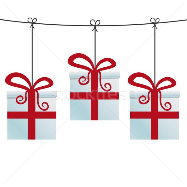 Piros ajándékdobozok akasztás zsinór születésnap háttér Stock fotó © dariusl