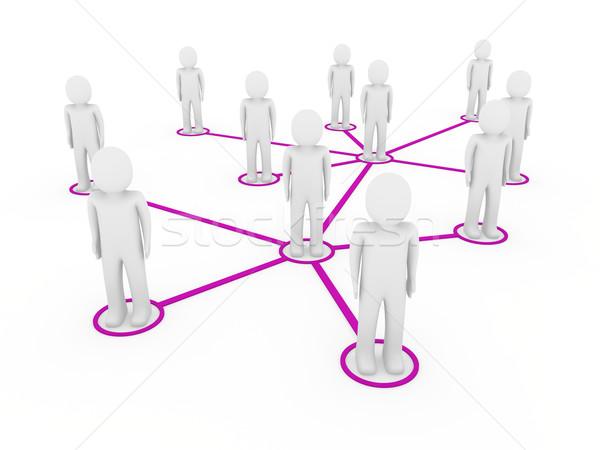 3d men network social purple Stock photo © dariusl