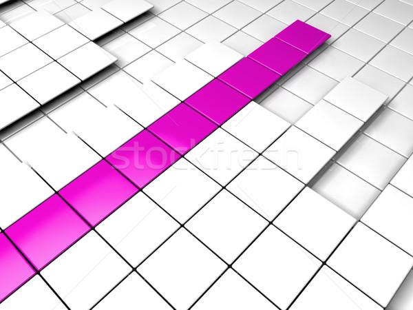 Foto stock: 3D · cubo · roxo · branco · sucesso · gráfico