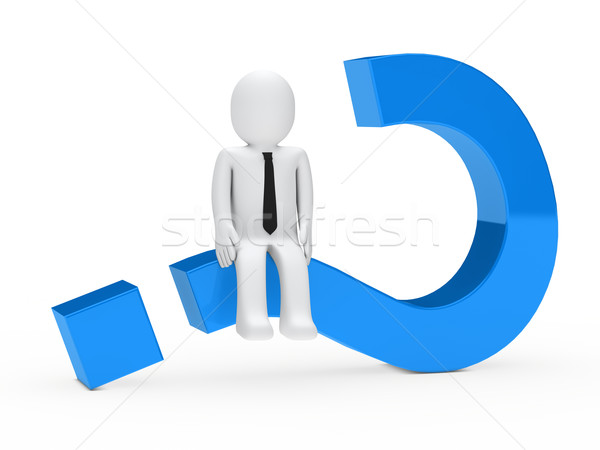 sits on question mark Stock photo © dariusl