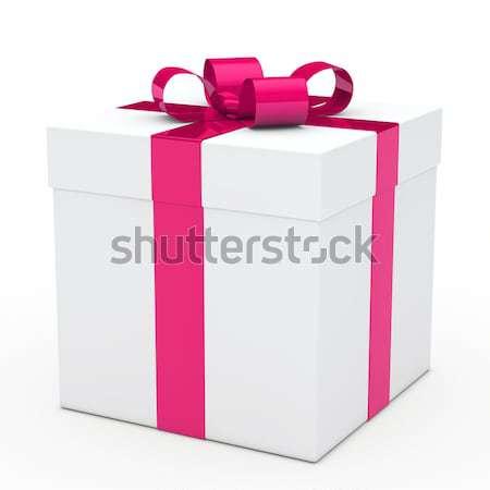 ギフトボックス ピンクリボン クリスマス 白 歳の誕生日 ボックス ストックフォト © dariusl