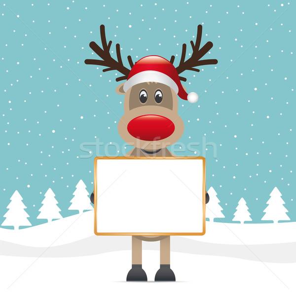 rudolph holding signboad Stock photo © dariusl