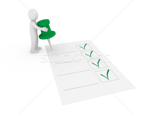 3D rajzszeg csekk lista 3d ember férfi Stock fotó © dariusl