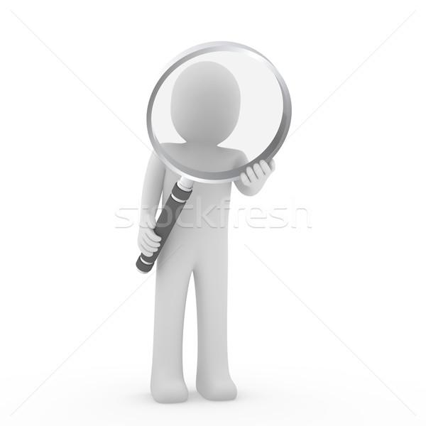 O homem 3d vidro lente lupa humanismo pesquisar Foto stock © dariusl
